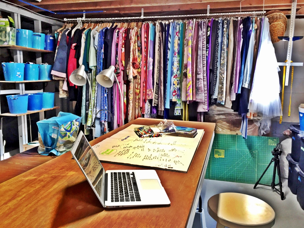 photograph of a desk in a sewing studio